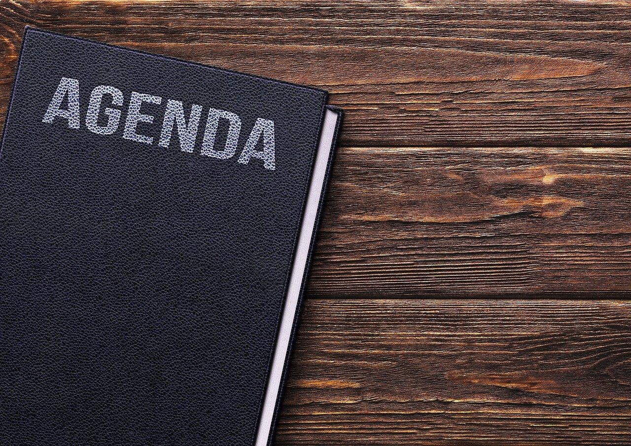 book, agenda, table