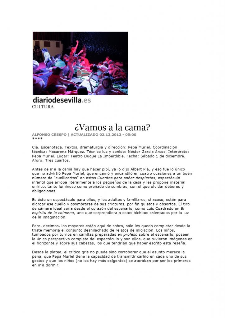 Vamos a la cama en el Diario de Sevilla